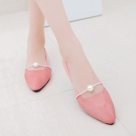 Beads Studded Shallow Mouth Suede Flat Shoes-Pink image