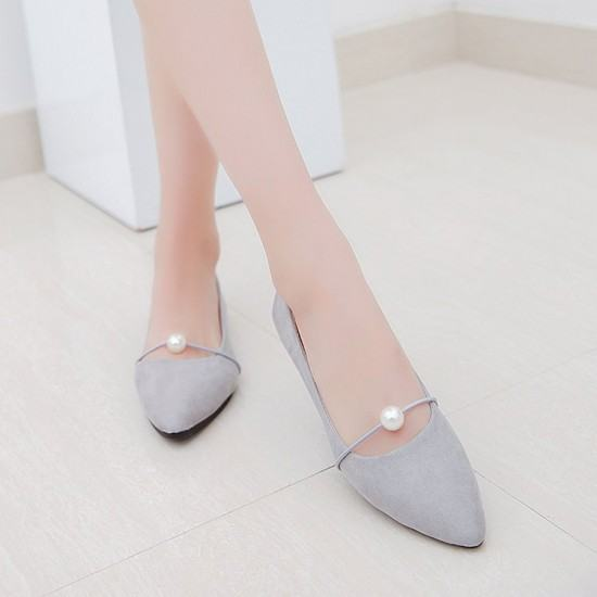 Beads Studded Shallow Mouth Suede Flat Shoes-Grey image
