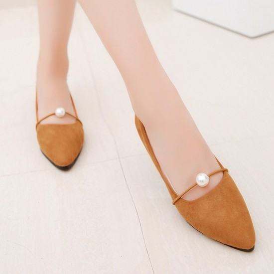 Beads Studded Shallow Mouth Suede Flat Shoes-Brown image