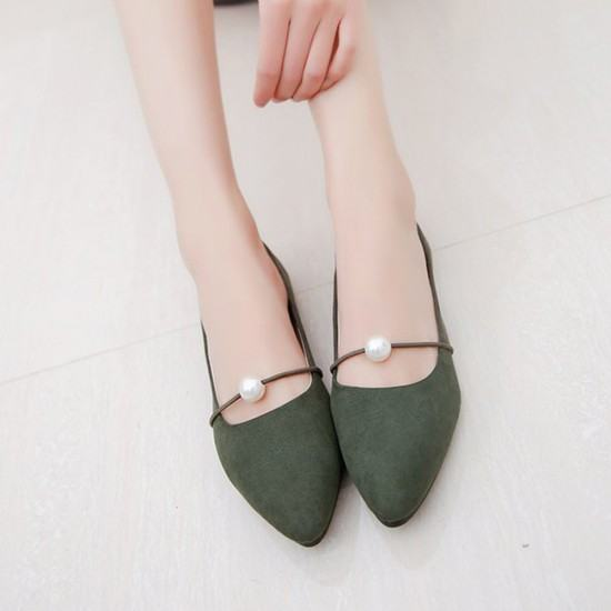 Beads Studded Shallow Mouth Suede Flat Shoes-Green image