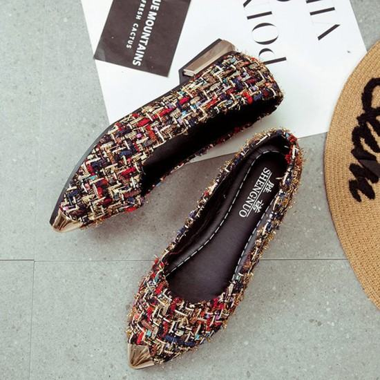 Comfortable Patchwork Shallow Mouth Flat Shoes-Brown image