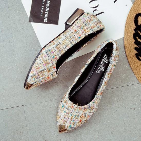 Comfortable Patchwork Shallow Mouth Flat Shoes-Cream image