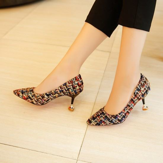 Comfortable Patchwork Shallow Mouth Low Heel Shoes-Brown image