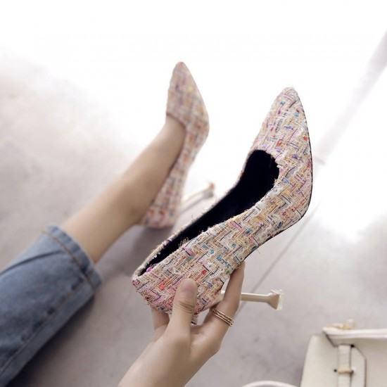 Comfortable Patchwork Shallow Mouth Low Heel Shoes-Cream image