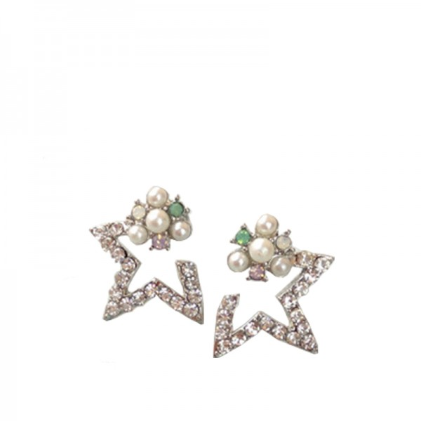 Silver Color Alloy Pearl Hollow Semi Five Star Earrings For Women image
