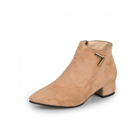Latest Fashion Leather Zipper Matt Chelsea Boots-Brown image