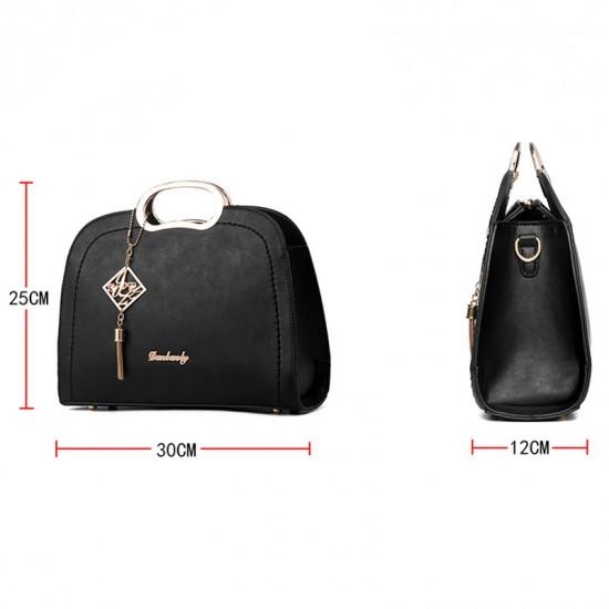 Trendy Leisure shoulder Messenger Handbag For Women-Black image