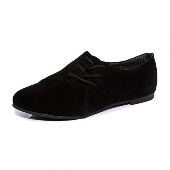 Women Unique Style Spring & Summer Leather Flat Shoes-Black image