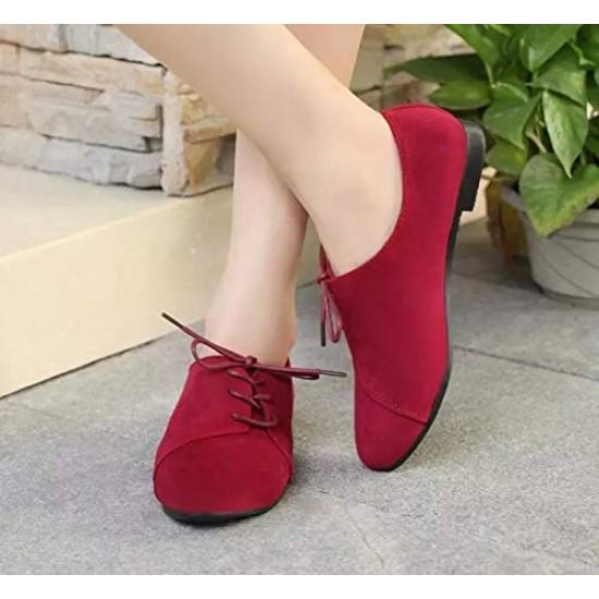 Women Unique Style Spring & Summer Leather Flat Shoes-Red image