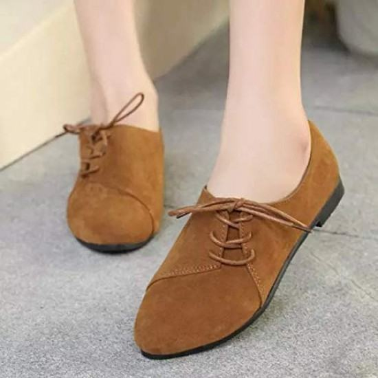 Women Unique Style Spring & Summer Leather Flat Shoes-Brown image