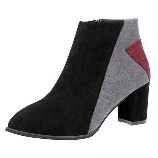 Martin Round Head Chelsea Suede Leather Boots-Grey image