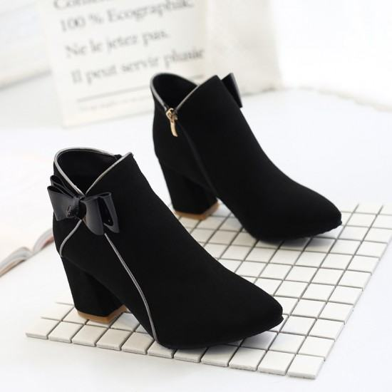 New Ladies Fashion Zipper Thick Bottoms Leather Boots-Black image
