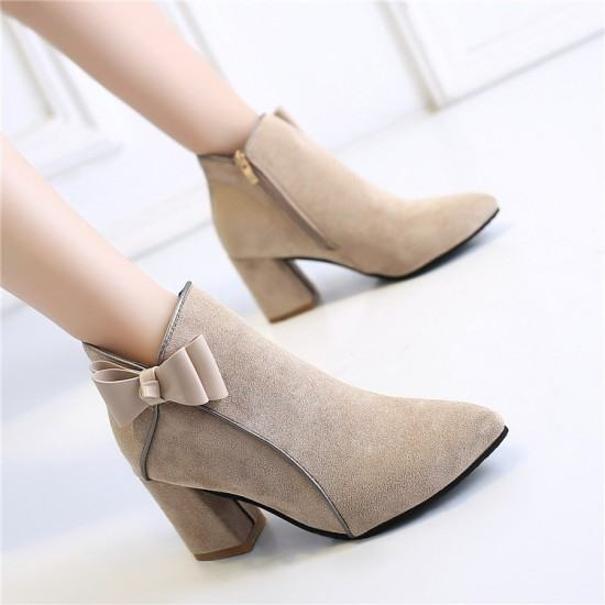 New Ladies Fashion Zipper Thick Bottoms Leather Boots-Brown image