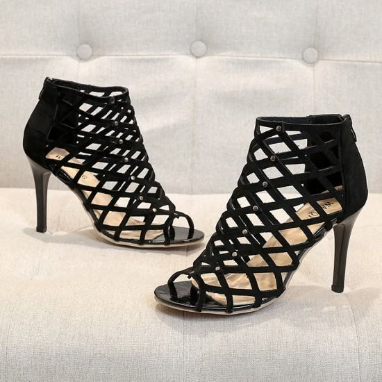 European Style Pointed Hollow Cross Striped Heels Sandals-Black image