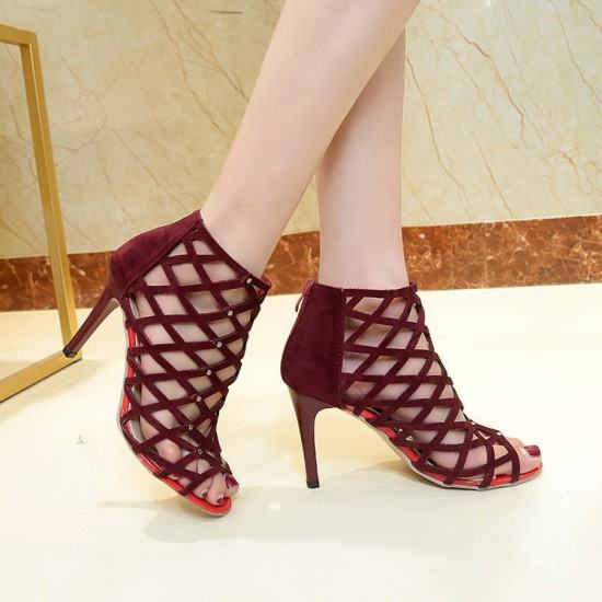 European Style Pointed Hollow Cross Striped Heels Sandals-Red image