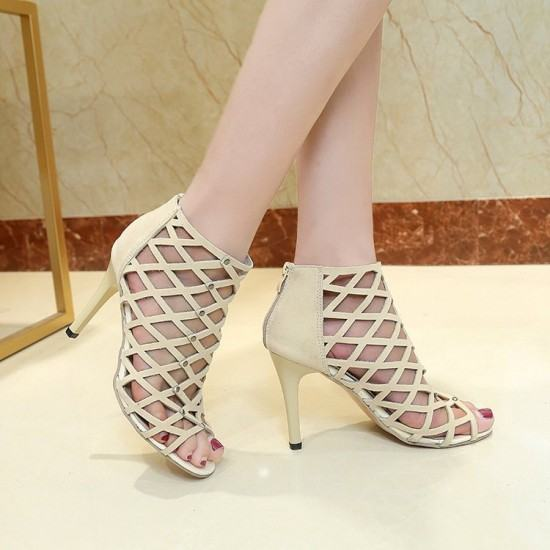 European Style Pointed Hollow Cross Striped Heels Sandals-Cream image