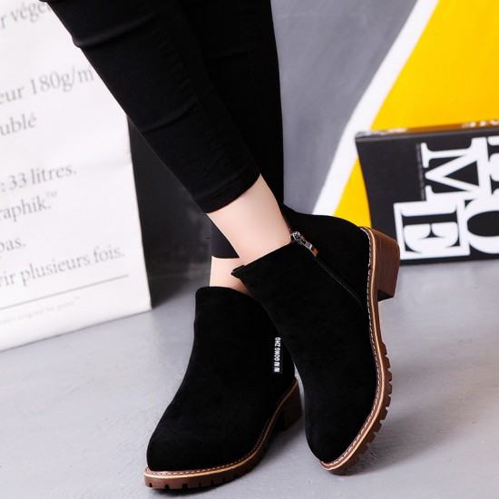 Women Chukka Style Leather Casual Boots-Black image