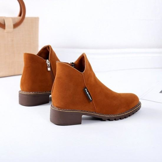 Women Chukka Style Leather Casual Boots-Brown image