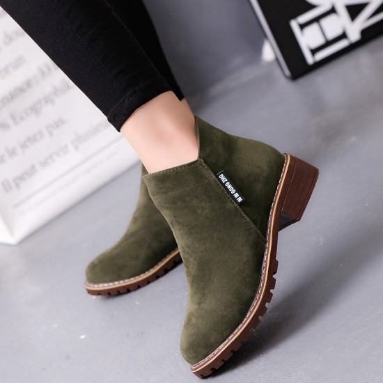 Women Chukka Style Leather Casual Boots-Green image