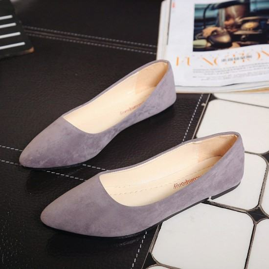 Frosted Shallow Mouth Suede Flat Shoes-Grey image