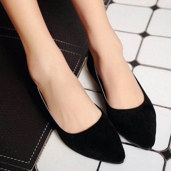 Frosted Shallow Mouth Suede Flat Shoes-Black image