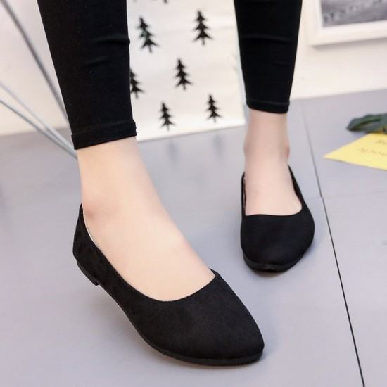 Buy Frosted Shallow Mouth Suede Flat