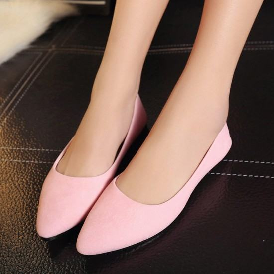 Frosted Shallow Mouth Suede Flat Shoes-Pink image