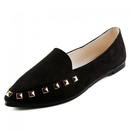 Latest Fashion Suede Casual Pointed Flat Shoes-Black image