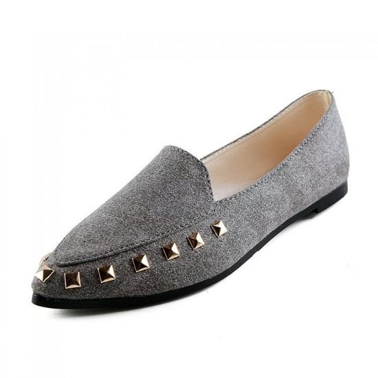Latest Fashion Suede Casual Pointed Flat Shoes-Grey image