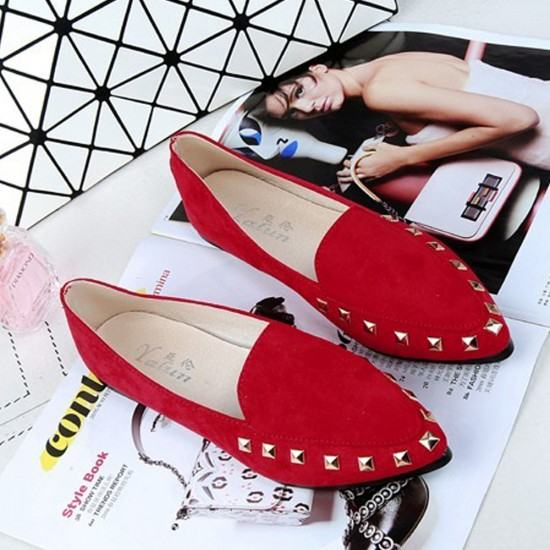 Latest Fashion Suede Casual Pointed Flat Shoes-Red image