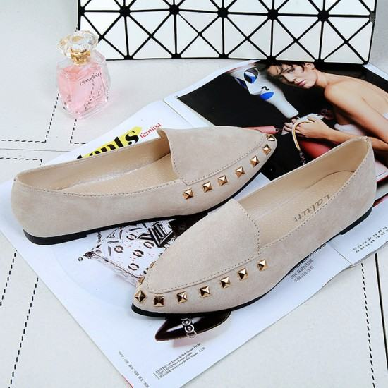 Latest Fashion Suede Casual Pointed Flat Shoes-Cream image