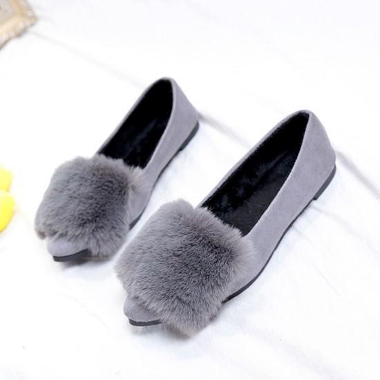 Latest Fashion Bow Ballerina Casual Flat Shoes-Grey image