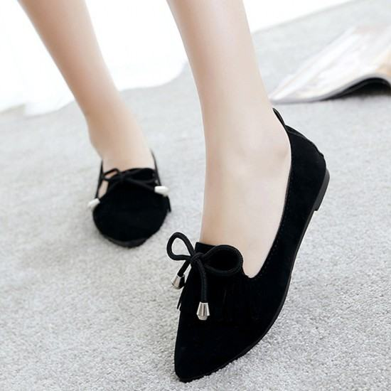 Assorted Tassels Shallow Mouth Casual Flat Shoes-Black image