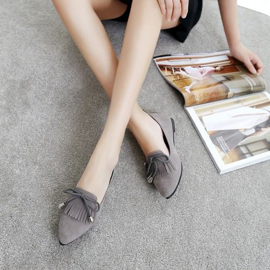 Assorted Tassels Shallow Mouth Casual Flat Shoes-Grey image