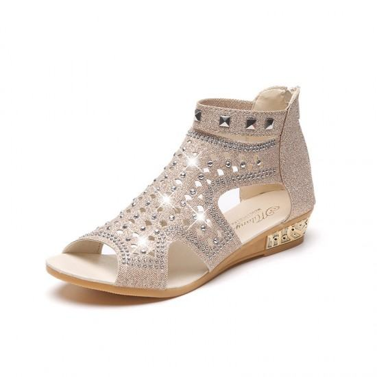 Roman Fashion Rhinestones Flat Sandals-Beige image