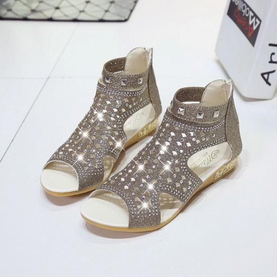 Roman Fashion Rhinestones Flat Sandals-Light Grey image