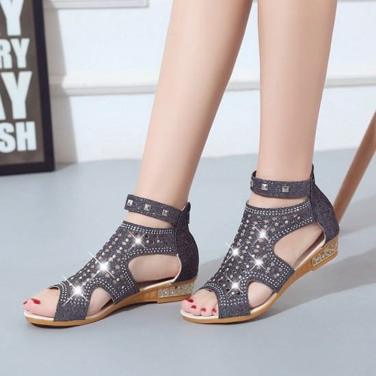 Roman Fashion Rhinestones Flat Sandals-Dark Grey image