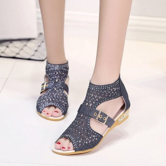 Fish Mouth Rhinestones Flat Bottom Sandals-Dark Grey image