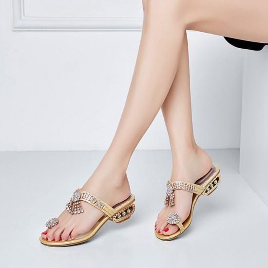 Elegant Fashion Flip Flop Diamond Slipper -Gold image