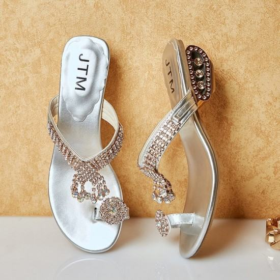 Elegant Fashion Flip Flop Diamond Slipper -Silver image