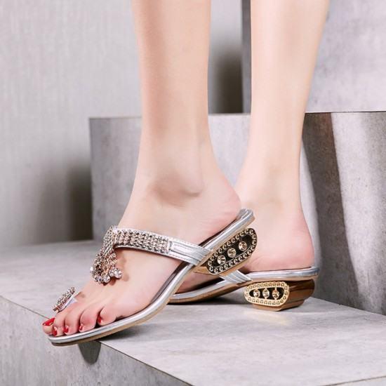 Elegant Fashion Flip Flop Diamond Slipper -Silver image