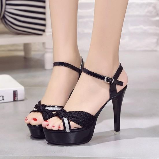 Cross Border Open Toe Shining Leather Heels Sandals-Black image