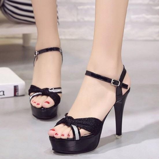 Cross Border Open Toe Shining Leather Heels Sandals-Black image