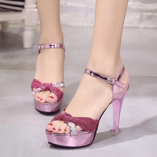 Cross Border Open Toe Shining Leather Heels Sandals-Pink image