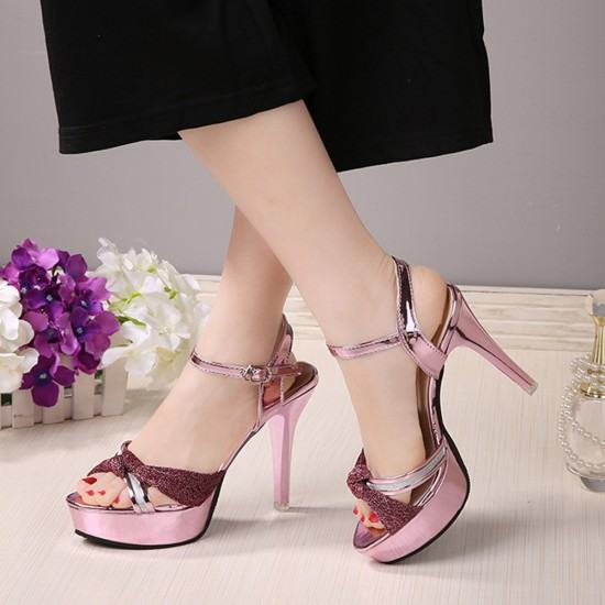 Cross Border Open Toe Shining Leather Heels Sandals-Pink image