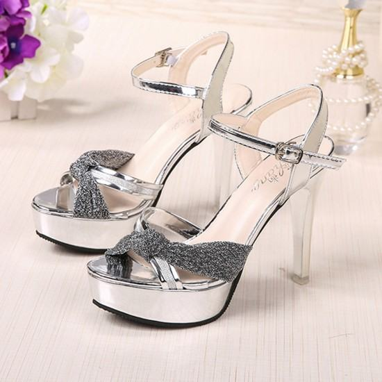 Cross Border Open Toe Shining Leather Heels Sandals-Silver image