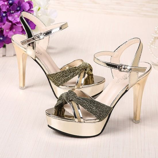 Cross Border Open Toe Shining Leather Heels Sandals-Gold image