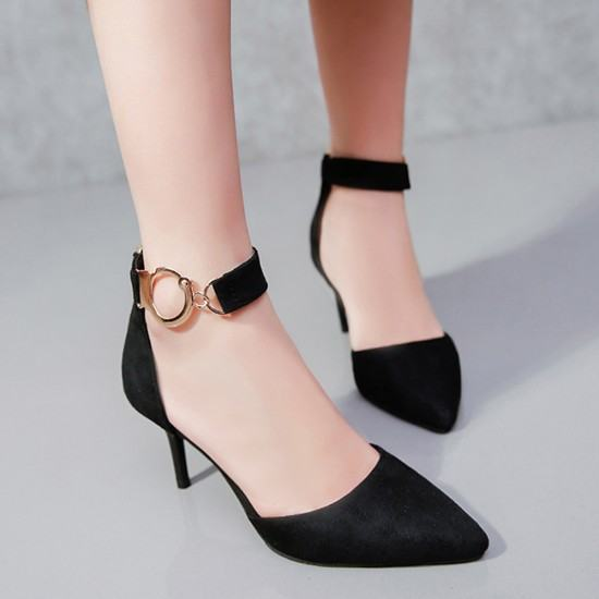New Korean Version Pointed Toe Suede Leather Heel Shoes-Black image