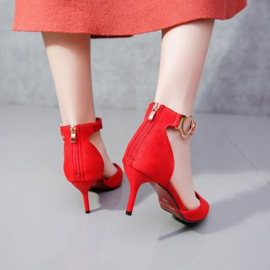 New Korean Version Pointed Toe Suede Leather Heel Shoes-Red image