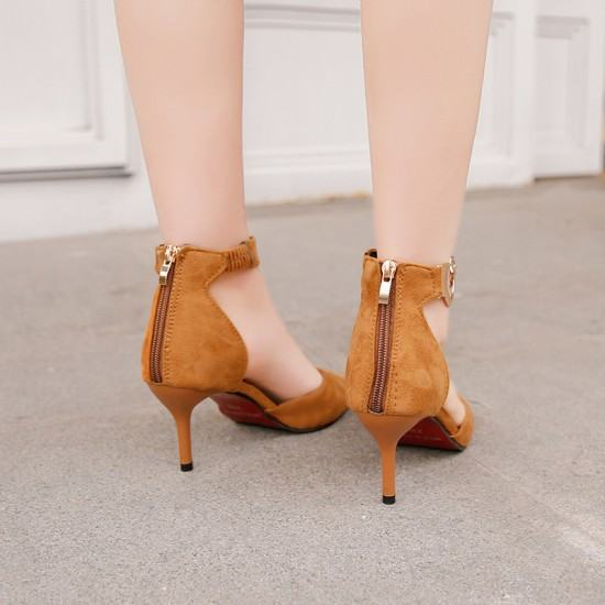 New Korean Version Pointed Toe Suede Leather Heel Shoes-Brown image